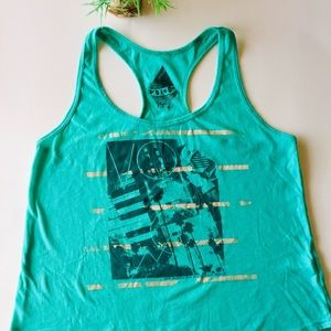 Volcom sz Sm, sea foam green, trapeze tank top